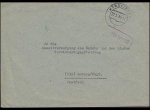 Gebühr-bezahlt-Stempel auf Brief NÖRDLINGEN 22.5.1946 nach Amberg