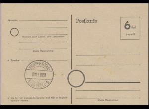 Notausgabe / Behelfsausgabe Postkarte P 671 WUPPERTAL-ELBERFELD 4, ungebraucht