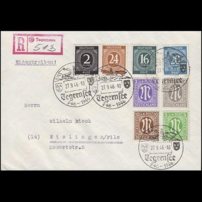 AM-Post mit Kontrollrat Ziffern MiF R-Brief SSt TEGRENSEE 27.9.46 nach Eislingen