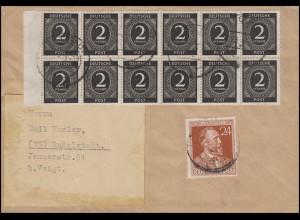 912 Ziffer 10x 2 Pf im Rand-10er-Block mit 963 auf Orts-Brief RUDOLSTADT 20.6.47