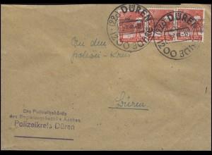 38I Band-Aufdruck 3x 8 Pf. MeF auf Orts-Brief Polizeikreis SSt DÜREN 5.7.48