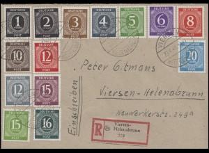 951-937 Ziffern 1Pf - 1 RM, 27 Werte, Satz-R-Bf. VIERSEN-HELENABRUNN 20.6.48