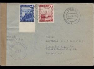 Österreichische Zensurstelle 611 W, Brief 750+753 MiF WIEN 13.12.1946 n. Hamburg