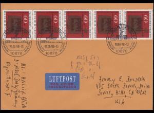 1023 Tag der Briefmarke 5x60 Pf MeF Luftpost-Brief SSt BERLIN Postmuseum 30.6.98