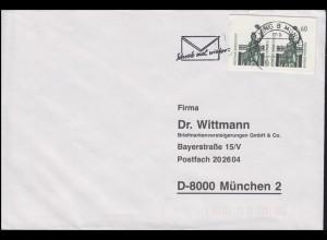Postkartenausschnitte 2x 60 Pf. Bavaria als MeF auf Brief GARCHING 17.2.93