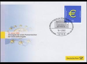 Euro-Einführung: ESSt Berlin 10.1.02: Erstes Marke mit reiner Euro-Angabe