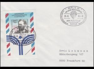 Block 24 Otto Lilienthal BALLONPOST-Brief SSt Berlin Jubiläumsfahrt 26.8.91