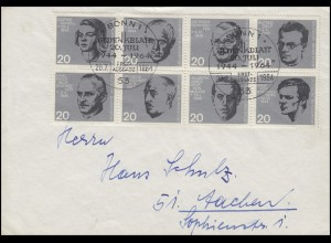 431-438 Attentat 20. Juli 1944 8er-Block-ZD aus Block 3 auf FDC ESSt BONN 1964