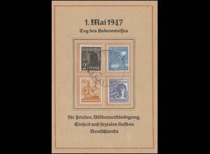 Sonderkarte 1. Mai 1947 Tag des Bekenntnisses 943ff 4 Werte SSt LEIPZIG 1.5.47