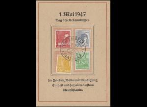 Sonderkarte 1. Mai 1947 Tag des Bekenntnisses 945ff 4 Werte SSt LEIPZIG 1.5.47