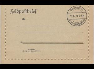 Blanko-Feldpost-Kartenbrief Stempel Deutsche Friedensdelegation 19.6.1919