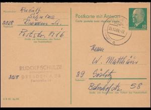Württemberg P 22 Ziffer 5 Pf. ULM-STADTPOSTBURAU 20. 4.82 nach STUTTGART
