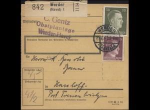 789+794 Freimarken-MiF auf Paketkarte Obstplantage Gentz WERDER-HAVEL 52.6.1942