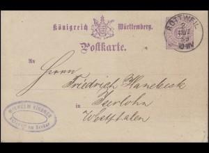 Württemberg P 30 Ziffer 5 Pf. Einkreisstempel ROTTWEIL 2.11.89 nach Iserlohn