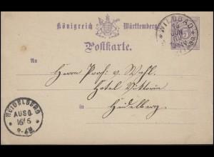 Württemberg P 30 Ziffer 5 Pf. WILDBAD in WÜRTTMBG 16.6.89 nach HEIDELBERG 16.6.