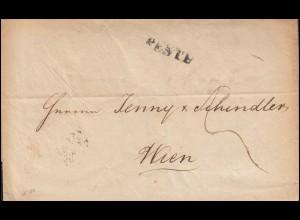 Ungarn Vorphilatelie Brief Zweizeiler PESTH vom 3.12.1845 nach WIEN 5.12.