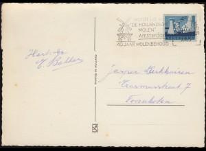Firmenlochung/Perfin K auf 790 Limburg auf AK Glückwünsche AMSTERDAM 1963