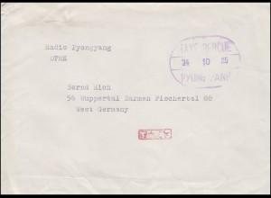 Gebühr-bezahlt-Stempel TAXE PERCUE auf Brief PYONG YANG 25.10.1974