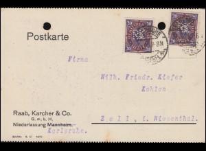 Firmenlochung RK auf Posthorn 20 Mark als MeF auf Postkarte KARLSRUHE 21.3.23