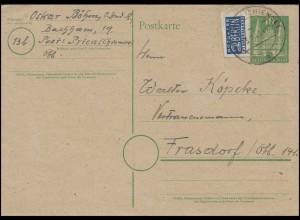 Postkarte P 2I Holstentor 10 Pf mit Notopfer geschnitten PRIEN / CHIEMSEE 5.1.49