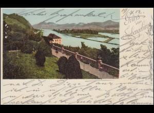AK Gruss vom Siebengebirge, MEHLEM 18.4.1902 nach ANGERMÜND 19.4.02