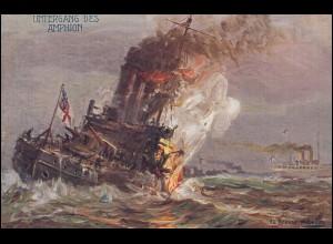 Ansichtskarte Der europäische Krieg 1914: Untergang des Amphion, ungebraucht