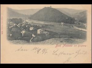 Ansichtskarte Bad Nassau mit Burgberg, NASSAU (LAHN) 10.8.1897 nach WEILBURG