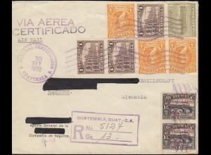 Guatemala R-Brief 10.9.1932 mit Flugpostmarke 2 Servicio Aereo nach Hamburg