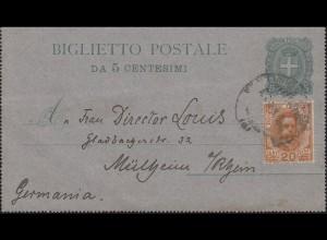 Italien Kartenbrief K 5 Wappen 5 Cent. mit Zusatzfr. nach MÜLHEIM / RHEIN 8.4.00