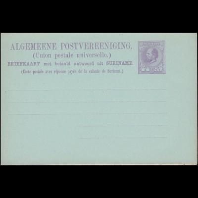 Surinam Doppel-Postkarte / Double Post Card 5/5 Ct. lila von 1882 ungebraucht **
