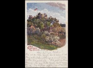 AK Bad Kissingen Ruine Bodenlaube, 15.8.1898 über ZERMATT nach RIFFELALP 17.8.98