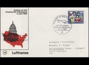 Erstflug Lufthansa LH 420 Frankfurt/M. - Philadelphia/USA, SSt FRANKFURT 3.4.65