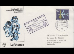 Erstflug Lufthansa LH 690 Frankfurt / Main-Singapore, FRANKFURT FLUGHAFEN 6.4.65