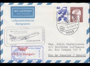 Flugpost Lufthansa Stuttgart-Natal-Rio 7.2.1974, Aerogramm PF 1/2, SSt STUTTGART