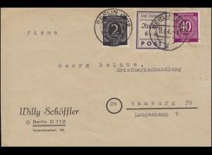 Strausberg 39 Wiederaufbau violett mit 912+929 Brief BERLIN 18.6.46