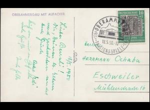 113V Briefmarken: PLF V weiße Flecken über B auf AK SSt OBERAMMERGAU 18.5.50
