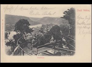 AK Stadt Wehlen - Wehlblick, 11.8.1902 nach BERLIN Bestellt Postamte 61 - 12.8.