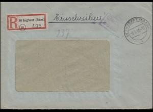 Gebühr-bezahlt-Stempel Fenster-R-Brief ST. INGBERT 9.3.1946 n. HALLE/SAALE 23.3.