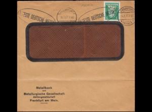 Firmenlochung MB kopfstehend auf Schiller 5 Pf EF Orts-Brief FRANKFURT/M.14.7.27