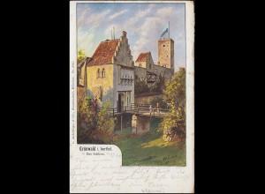 AK Grünwald in Isartal - Das Schloss, 28.5.1901 nach Vilshofen 28.5.01