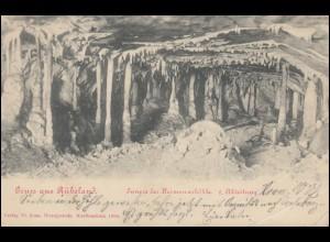 AK Gruss aus Rübeland Innere der Hermannshöhle 2. Abteilung, 2.8.1904 n. GOSLAR