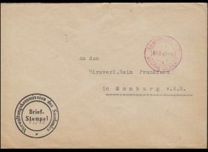 Gebühr-bezahlt-Stempel D1 Zweibrücken-O rot SAARBRÜCKEN 2 - 3.9.47 auf Brief