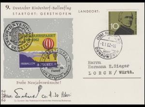 9. Deutscher Kinderdorf Sonderballonflug 2. Neujahrsfahrt ERGEE, HARBURG 1.1.62