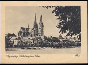 AK Regensburg: Blicka auf den Dom, SSt ACHERN (BADEN) HORNISGRINDE 27.10.1948
