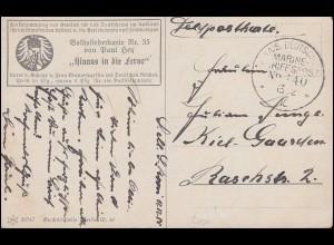 DEUTSCHE MARINE-SCHIFFSPOST No 40 Roon - 13.12.1915 auf Volksliederkarte Kiel