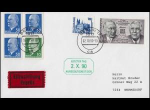 Letzter Tag Kursgültigkeit DDR Eil-Brief BERLIN 2.10.1990 mit Ulbricht-Marken