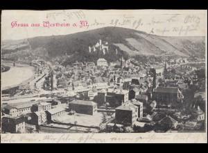 Ansichtskarte Gruss aus Wertheim am Main Panorama 19.8.1899 nach MÜNCHEN 30.8.99