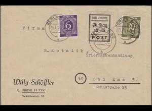 Strausberg 45 Wiederaufbau schwarz mit 916+928 Brief BERLIN 25.7.46