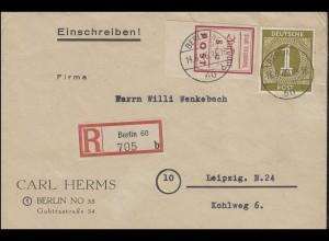 Strausberg 36B Wiederaufbau rot mit 937 auf R-Brief BERLIN 14.6.46
