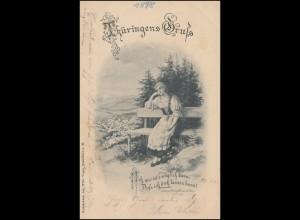 AK Thüringens Gruss Mädchen auf der Bank, SAALBURG 29.6.1898 nach ERFURT 30.9.98